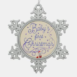 Eerste Kerstmis van de baby Tin Sneeuwvlok Ornament