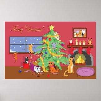 Eerste Kerstmis van katjes Poster