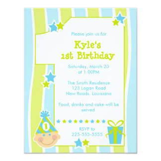 Eerste Verjaardag 10,8x13,9 Uitnodiging Kaart