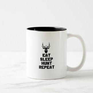 Eet de Jacht van de Slaap herhalen Tweekleurige Koffiemok