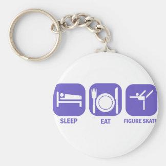 Eet de Kunstschaats van de Slaap Basic Ronde Button Sleutelhanger