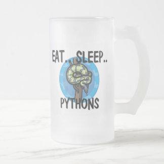 Eet de PYTHONNEN van de Slaap Matglas Bierpul