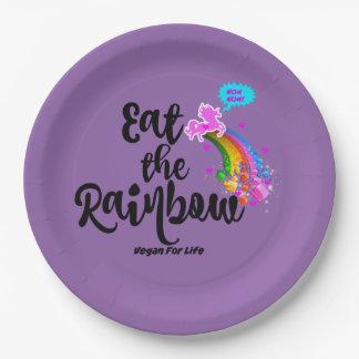 Eet de Veganist van de Regenboog voor het Papieren Bordje