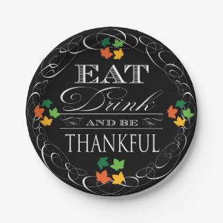 Eet Drank en ben Dankbare Thanksgiving Papieren Bordje