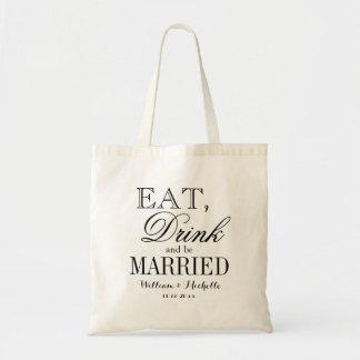 Eet drank en ben gehuwde het bolsazakken van de draagtas
