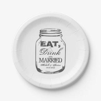 Eet drank en ben gehuwde het huwelijksborden van papieren bordje