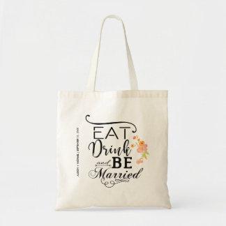 Eet drank en ben gehuwde typografiepioenen draagtas