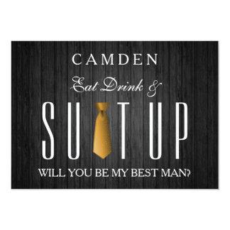 Eet Drank & zal het Goud Suitup u mijn Bestman Kaart