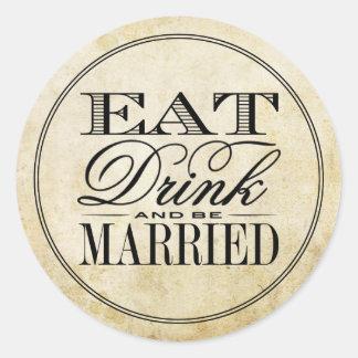 Eet, drink & ben Gehuwd Vintage Huwelijk Ronde Sticker