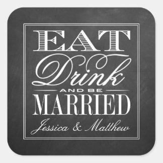 Eet, drink & ben het Gehuwde Huwelijk van het Bord Vierkante Sticker