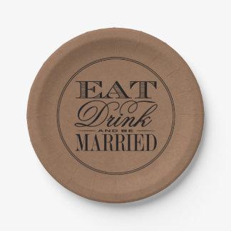 Eet, drink & ben het Gehuwde Rustieke Huwelijk van Papieren Bordje