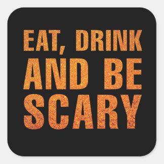 Eet, drink en ben het Enge Decor van Halloween Vierkante Stickers