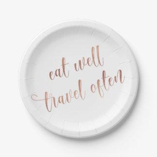 Eet goed, reis vaak toenam de Gouden Typografie Papieren Bordje