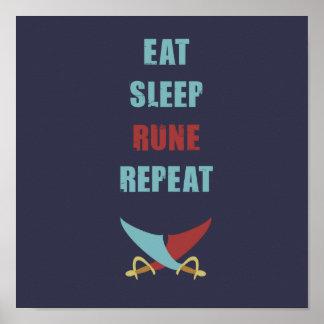 Eet het Poster van Runescape van de Slaap