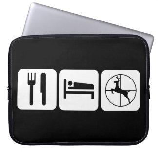 Eet Logo van de Jacht van de Herten van de Slaap Laptop Sleeve
