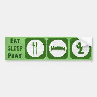 Eet slaap bidden GROEN Bumpersticker