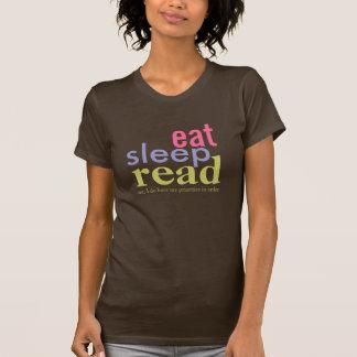Eet Slaap Gelezen Prioriteiten in de Heldere T Shirt