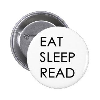 Eet, Slaap, lees Knoop Ronde Button 5,7 Cm