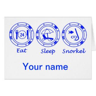 Eet Slaap snorkelen Wenskaart