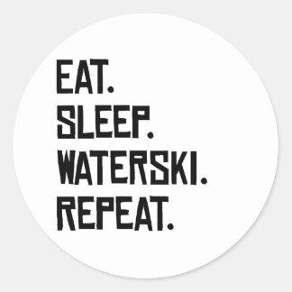 Eet Slaap Waterski herhalen Ronde Sticker