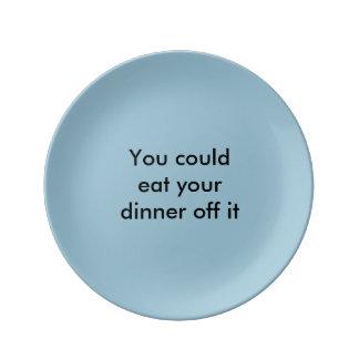 """Eet van het"" bord Porseleinen Bord"