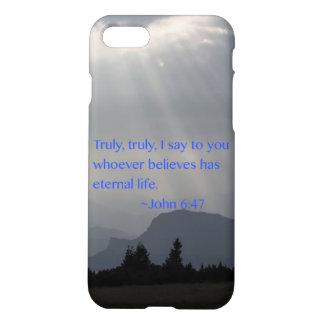"""Eeuwig"" John 6:47 iPhone 7 Hoesje"