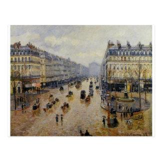 Effect van de Avenue de l'Opera Rain door Camille Briefkaart