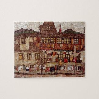 Egon Schiele- House met het Drogen van Wasserij Puzzel