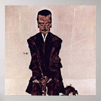Egon Schiele - Portret van Eduard Kosmack Poster