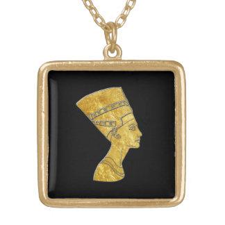 Egyptische Koningin Nefertiti Uw AchtergrondKleur Goud Vergulden Ketting