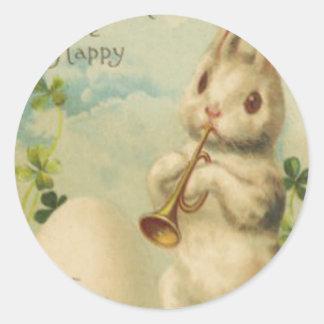 Ei Vier van de paashaas de Trompet van de Klaver Ronde Stickers