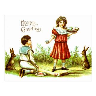 Eieren van de Konijntjes van de Kinderen van het Briefkaart