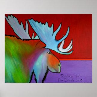 Eigentijdse Amerikaanse elandendruk Poster