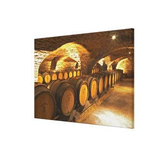 Eik barrles in de kelder in Domaine Comte Canvas Print