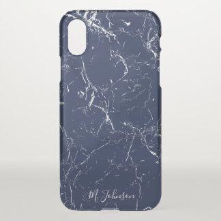 Elegant Blauw Gepersonaliseerd Marmer iPhone X Hoesje