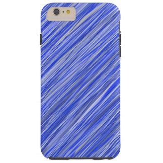 Elegant blauw gestreept telefoonhoesje tough iPhone 6 plus hoesje