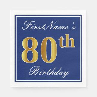 Elegant Blauw, Gouden 80ste Verjaardag Faux; De Wegwerp Servetten