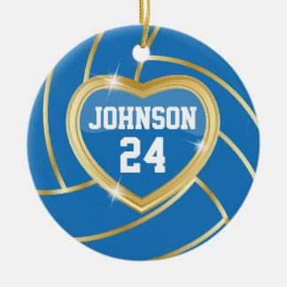 Elegant Blauw & Gouden Volleyball | Naam DIY & Rond Keramisch Ornament