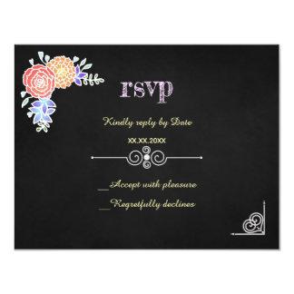 Elegant BloemenPatroon op Bord RSVP Kaart
