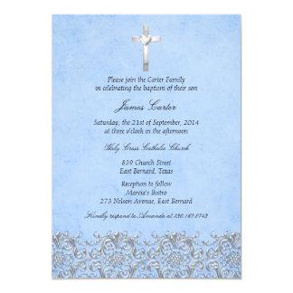 Elegant Damast & Dwars Blauw Doopsel/Doopsel 12,7x17,8 Uitnodiging Kaart