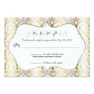 Elegant Damast RSVP [Goud] 8,9x12,7 Uitnodiging Kaart