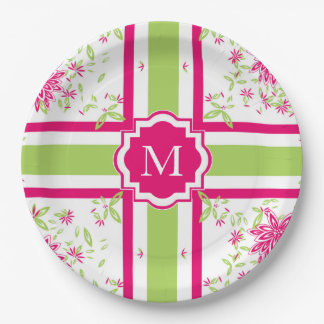 ELEGANT DOCUMENT PLATE_LOVELY HETE PINK/GREEN PAPIEREN BORDJE