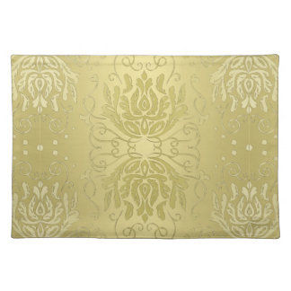 Elegant Gelaagd Gouden BloemenDamast Placemat