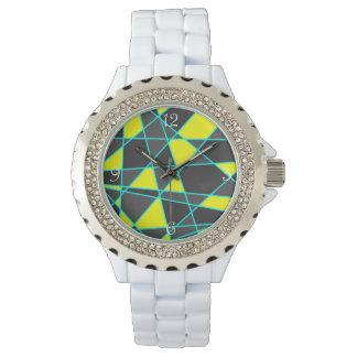 elegant geometrisch helder geel neon en munt horloges