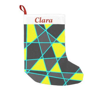 elegant geometrisch helder geel neon en munt kleine kerstsok