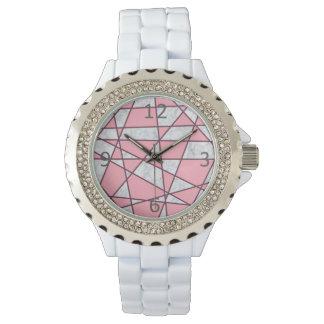 elegant geometrisch wit marmeren pastelkleurroze horloge