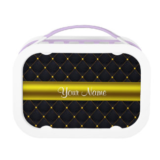 Elegant Gewatteerd Gepersonaliseerde Zwarte en Lunchbox