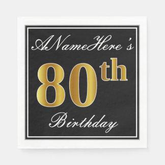 Elegant, Gouden 80ste Verjaardag Faux + De Naam Wegwerp Servetten