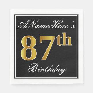 Elegant, Gouden 87ste Verjaardag Faux + De Naam Wegwerp Servetten