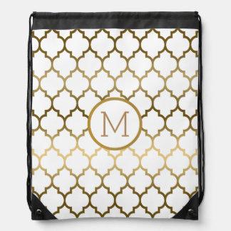Elegant Gouden en Wit Modern Patroon Quatrefoil Trekkoord Rugzakje
